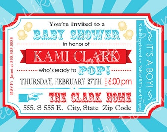 Custom Blue and Red Popcorn and Carnival Baby Shower Invitation