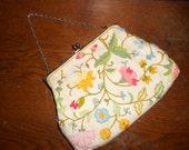 Vintage Purse - Embroidered - Vintage Purse - Lined - Linen Purse