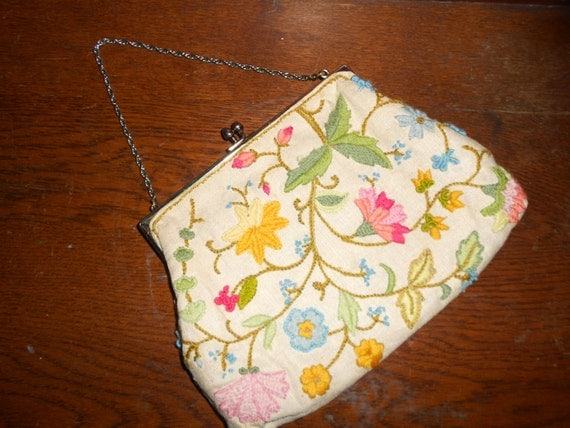 Vintage Purse - Embroidered - Vintage Purse - Lined - Linen Purse