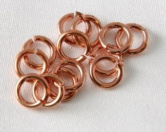 100 pcs - Solid Copper Jump Rings 5mm OD 18 Gauge