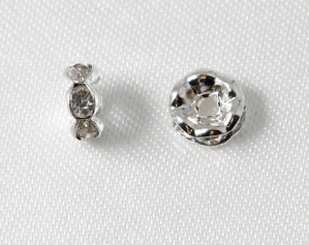 10 pcs - 6mm Rhinestone Rondelles Silver With Crystal