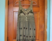 RESERVED - Sacred Threads Olive Green dress with Embroidered details