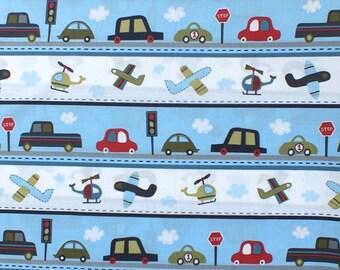 SALE! 1/4m Vroom Cars & Airplanes Stripe in Denim - Robert Kaufman