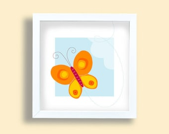 Butterfly wall print, orange art print, girls room print, baby poster, blue sky, flying butterfly