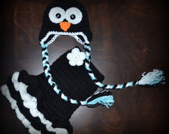 Crochet Penguin Earflap Baby Beanie Hat & Matching Tutu Dress Photo Prop Custom Made Boy Girl Costume
