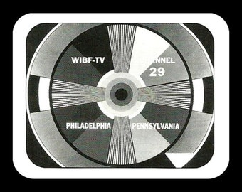 Vintage 1950's TV Television Test Pattern fridge magnet black and white Philadelphia Pennsylvania