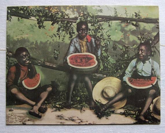 Vintage Children Eating Watermelon Slices Color Print Illinois