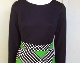 70's Green, White & Black Dress