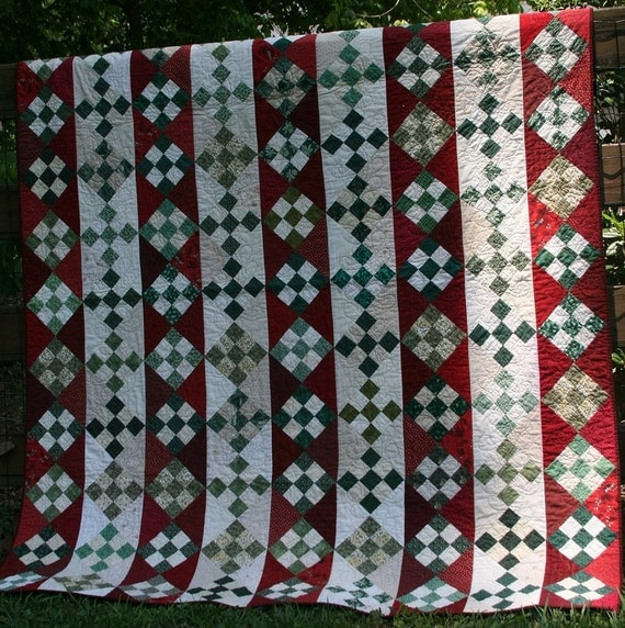 PDF quilt pattern, Christmas Candy, nine patch on point strip quilt