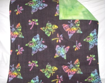 Pet blanket - rainbow butterflys on black fleece with reversible tie-dye green fleece