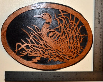 Nesting Loon Oval Scroll Saw Wall Plaque
