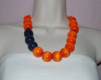 Statement Necklace Chunky BrightOrange and Midnight Blue Beaded Necklace Wood Bold Necklace and Earrings Set