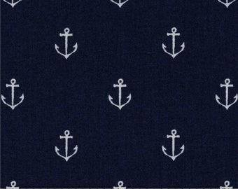 Navy white Anchors Out to Sea Sarah Jane Michael miller 1/2 to 2 yards available