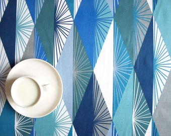 """Tablecloth white blue grey abstract triangles 56""""x56"""" or made to order your size, napkins , table runner , curtains available , great GIFT"""