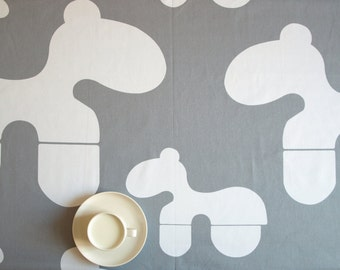 """Tablecloth grey white horses 37""""x56"""" or made to order your size, also  curtains available, great GIFT"""