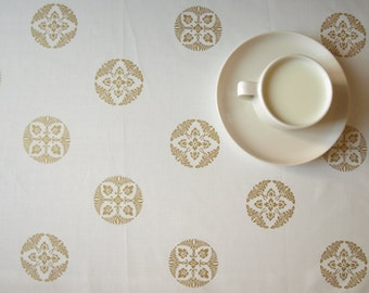 Tablecloth white gold abstract floral rounds pattern , also  curtains , pillows available, great GIFT