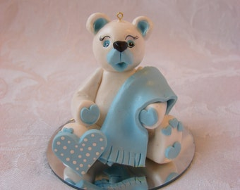 Personalized  Bear Baby Boy Shower, Birthday Cake Topper ,Christmas Ornament, Figurine.  A  Handcrafted Art Sculpture.