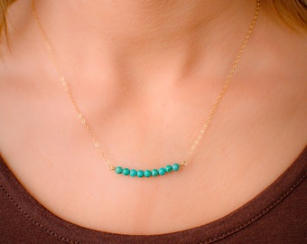Turquoise Beaded Bar Necklace, 14k Gold Filled Dainty Horizontal Bar Necklace, Layered Necklace, Turquoise and Gold Necklace, Sideways Bar