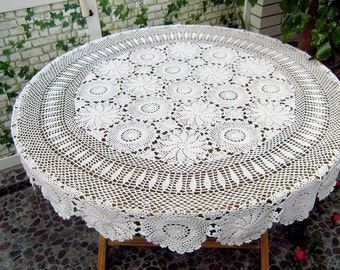White Crochet Round  Tablecloth 70 Inches