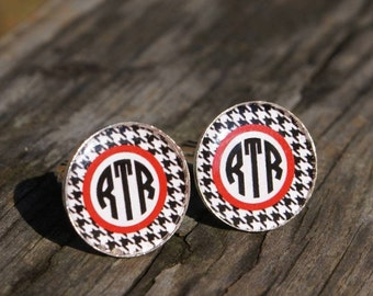 Alabama RTR Cufflinks. Roll Tide Bama Wedding Gift Football Fraternity Brother Wedding Day Groom Groomsmen Anniversary Husband Resin