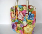 flowered raffia handbag tote shoulder bag