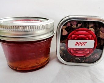 Organic ROOT CHAKRA Honey & Tea Combo Set - raspberry, rose, vanilla, hibiscus, ginger, clove, dandelion, rooibos