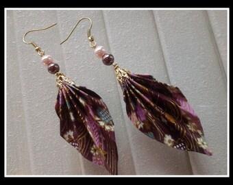 18K Washi Origami Leaf Earrings