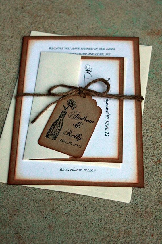 Items Similar To Rustic Wedding Invitations Rustic Weddings Shabby Chic Wedding Invitations