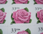 Pink Roses ... Unused Vintage Postage Stamps ... Set of 50 33 Cent Stamps