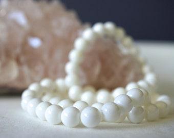 White Coral Bracelet, Natural Stones