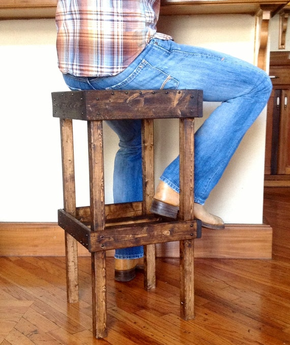 Rustic Wooden Bar Stools ~ Items similar to rustic wooden bar stool with shelf on etsy