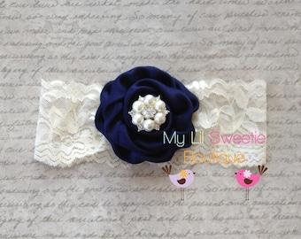 Navy headband - lace headband- newborn headband- infant headband- toddler headband- rosette headband