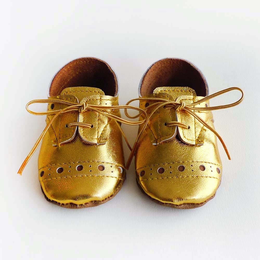 Baby Girl or Boy Shoes Gold leather Soft Sole Shoes Oxford