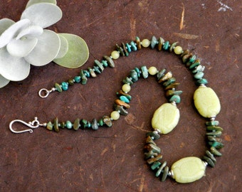 Serenity - Carved Olive Jade and Turquoise Necklace