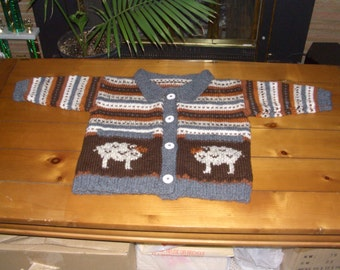 Customized to fit. Handknit button-up sheep sweater with pockets
