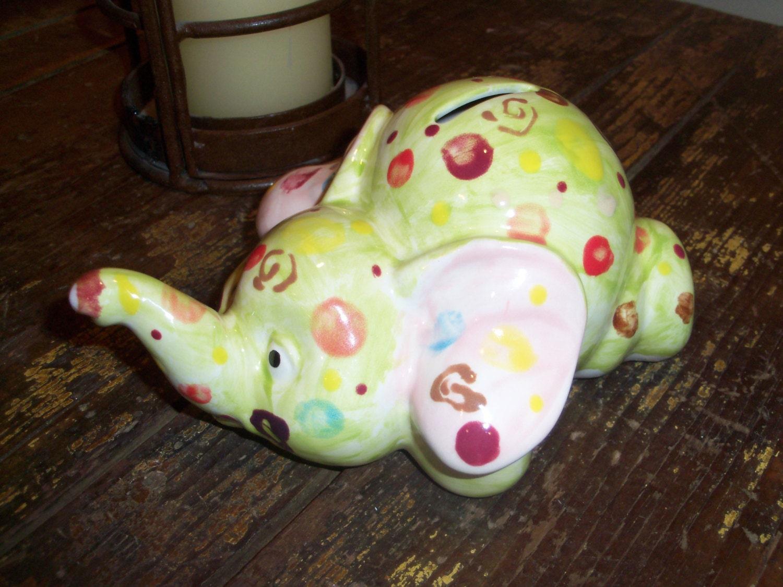 Handmade ceramic green elephant piggy bank for Handmade coin bank