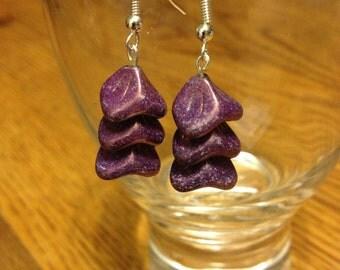 Amethyst Three Petal Flower Bead Hook Earrings