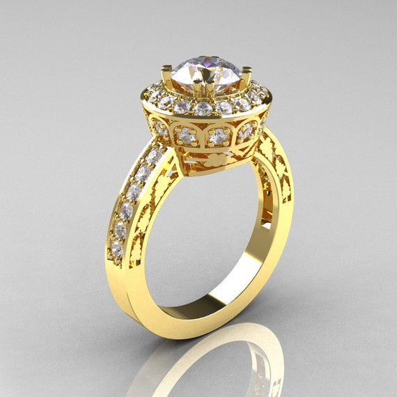 14K Yellow Gold 1 0 Carat Cubic Zirconia Diamond Wedding Ring