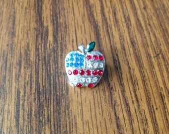 Vintage Apple Pin or Brooch with American Flag