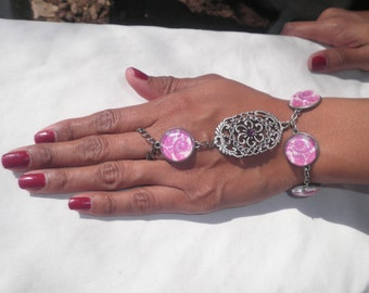 Pink Beaded Slave Cuff Bracelet with Pewter Colored Metal Chain Statement Piece Jewelry