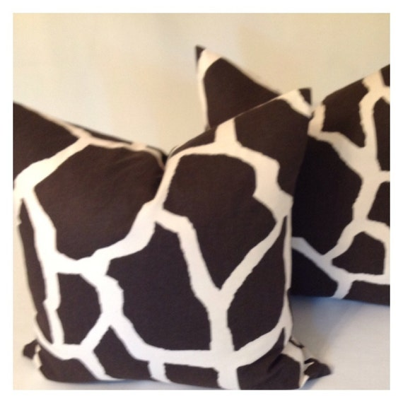 Giraffe Decorative Pillow : GIRAFFE Decorative Throw Pillow Covers by NAOMIFRANCIS