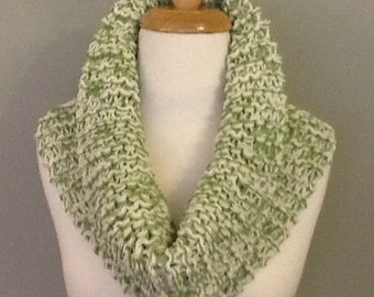 Pure Wool Infinity Scarf Cowl Capelet Snood - Apple Green and Cream