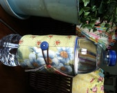 Bottle/Can Cozy (Water/Soda/Beer)  - Green/Blue/Red/Multicolor Floral Patchwork (Moda)