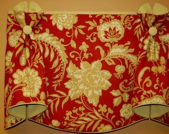 "Custom Valance BUNNY EARS Hidden Rod Pocket Valance fits 47""- 66"" window, made with customer's fabric, LABOR , lining only"