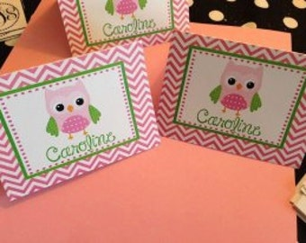 Owl Stationery, Owl Notecards, Owl Notes, Pink Chevron Owl Notes, Pink Owl Notes, Girl Owl notes
