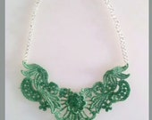 Sea Foam Green Dyed Lace Bib Statement Necklace - 18 inch