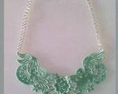 Mint Green Lace Bib Statement Necklace - 18 inch