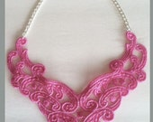 Bright Pink Lace Bib Statement Necklace New Style - 16 inch