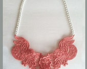 Coral Dyed Lace Bib Statement Necklace - 18 inch