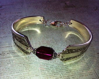 Vintage Silver Spoon Bracelet, Pattern name: Lido, circa 1938, Repurposed, Upcycled, Silverplate Spoon and Fork Jewelry